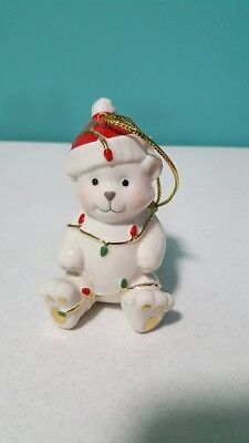 Lenox Very Merry Porcelain Christmas Ornament Teddy Bear