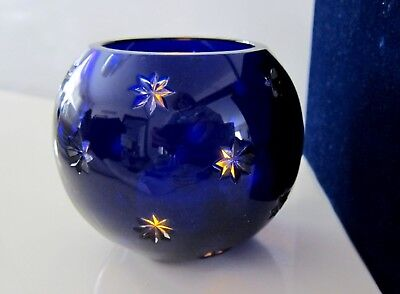 New Faberge Cobalt Blue Cut To Clear Snowflakes Votive Candle Holders Bowls Box