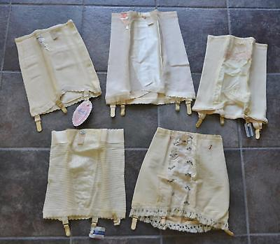 NWT! 5 Vintage 40s 50s Open Bottom Metal Garters Pin Up Girdles! Medium