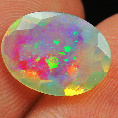 1.7CT 100% Natural Ethiopian Welo Opal Faceted Cut Play Of Color QOL8991