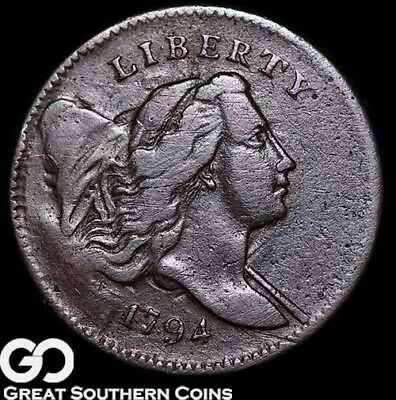 1794 Half Cent, Flowing Hair Liberty Cap, Very Scarce Early Copper, ** Free S/H!
