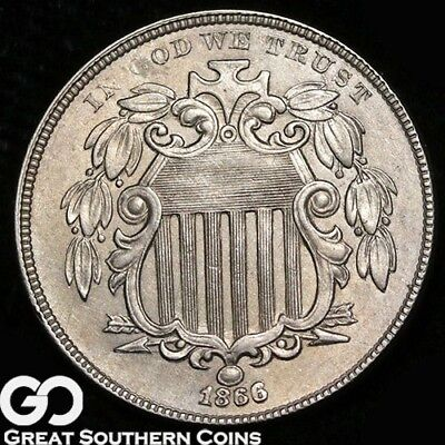 1866 Shield Nickel With Rays, Pursued Choice BU++ Better Date ** Free Shipping!