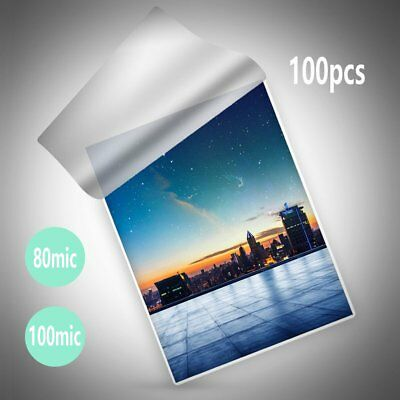 100Pcs A4 Laminating Pouches 80/100 Micron Gloss Laminate Film Waterproof PET 0I
