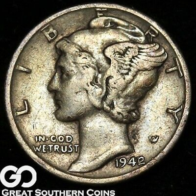 1942/1 Mercury Dime, Highly Collectible Choice XF Key Date Mint ERROR, Free S/H!