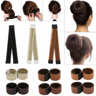 Women's Girls Magic Hair Bun Snap Styling Donut Former French Twist Band Maker