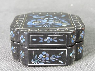 Chinese Wood Embryo Flower Bird Mother Pearl Inlay Lacquerware Box