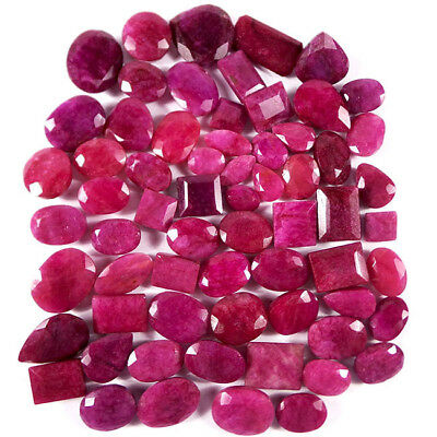 690 Ct/65 Pcs Natural USA Red Beryl Bixbite Mixed Faceted Gems Lot For Jewelry