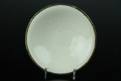 Chinese Antique Ding Kiln White Porcelain Grass Engraving Cup W/picotee Apr138