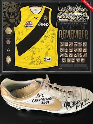 Richmond 2017 Premiers Team Signed 'a Year To Remember' Jumper With Richo Boot