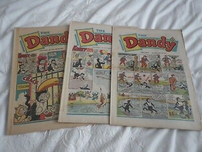 3 COPIES OF THE ' DANDY ' FROM THE 1960s