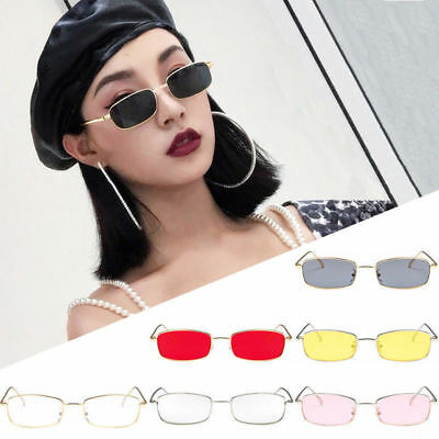Women Fashion Vintage Glasses Square Shades Small Rectangular Frame Sunglasses