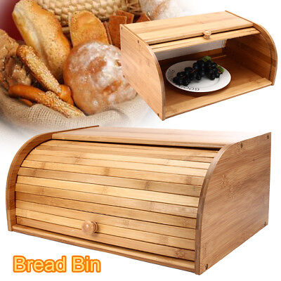 Natural Bamboo Bread Bin Loaf Storage Drop Down Front Lid