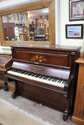 A Smallish Scottish Rosewood & Gorgeous Inlay Iron Frame Piano C.1882