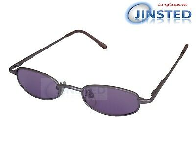 Small High Quality Sunglasses Purple Lens Silver Frame Spring Loaded Arms CL025