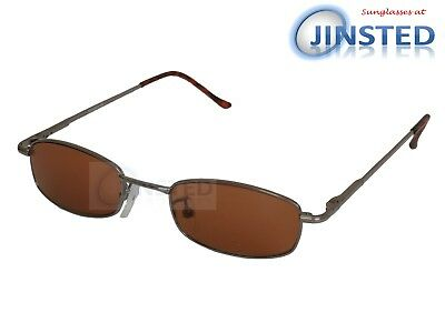 High Quality Sunglasses Brown Tinted Lens Silver Frame Spring Loaded Arms CL026