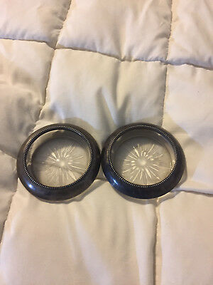 2 Vntage Frank M Whiting & Co Sterling Silver Metal Trim Glass Coasters Lot Set