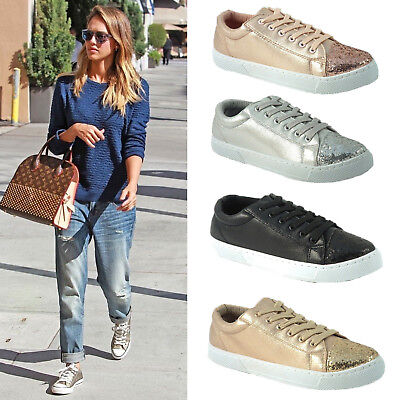 Ladies Girls Glitter Pumps Trainers Lace Up Metallic Sneakers Casual Shoes Size