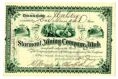 "Utah. Stormont Mining Co, 1887 Issued Stock Certificate ""Coin Vignette"" XF ABN"