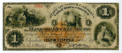 Charlotte, NC. Bank of Mecklenburg, 1875 $1 Obsolete Banknote I.R. RN-D2