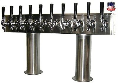 Stainless Steel Draft Beer Tower made in USA 10 Faucets GLYCOL READY - PTB-10SSG