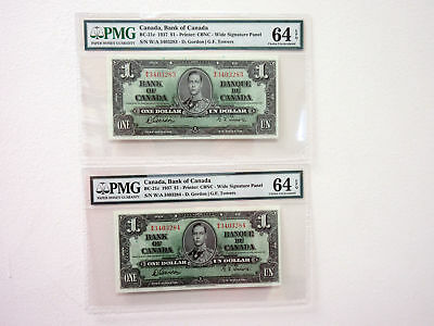 Bank of Canada 1937 $1 BC-21c Gordon-Towers Sig PMG CU 64 EPQ Sequential Pair a