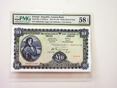 Central Bank of Ireland, 1974 Issue Banknote 10 Pounds, P-66c  PMG Ch. AU 58EPQ
