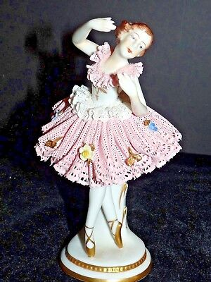 """Mid 20th C Volkstedt Porcelain Dresden Lace Ballerina Pink Germany 7"""" Figurine"""