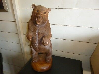 A Huge Vintage Carved Wooden or Black Forest Bear-15.75 inch/40 cm High.