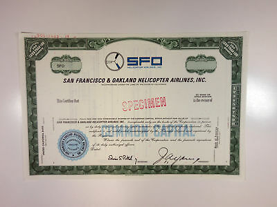 CA. SFO Helicopter Airlines, 1961 Specimen Stock Certificate <100 Shr XF ABN