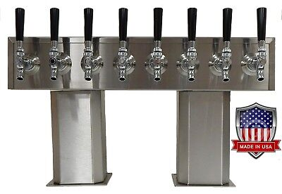 Stainless Steel Draft Beer Tower made in USA 8 Faucets GLYCOL READY- PTB-8SSG-OP