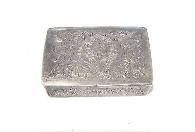 Vintage Persian Silver Chased Floral Snuff or Pill Box