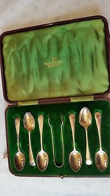 Antique Silver Plated Teaspoons & Sugar Tongs By Walker & Hall, Sheffield-Cased