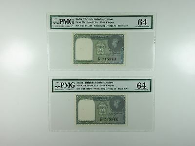Government of India 1940 Sequential Pair 1 Rupee p-25a Jhun4.1.1A Both PMG CU 64