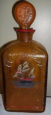 Unusual Antique Liquor Decanter Textured Amber Glass Hand Painted Ship Cameo