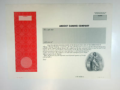 Argosy Gaming Co. 1990s Proof Stock Certificate XF ABN Casinos Gambling Unique