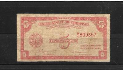 Philippines #126 1949 5 Centavos Vg Circ Old Banknote Paper Money Currency Note