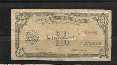 PHILIPPINES #130a 1949 20 CENTAVOS VG CIRCULATED OLD BANKNOTE PAPER MONEY BILL