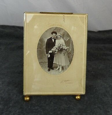Antique French Larger Nap III Brass & Beveled Glass Picture/ Photo Frame