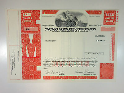 Chicago Milwaukee Corp., 1988 <100 Shrs Specimen Stock Certificate, XF - Red