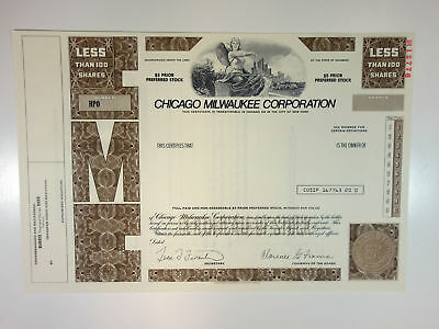 Chicago Milwaukee Corp., 1988 <100 Shrs Specimen Stock Certificate, XF - Brown