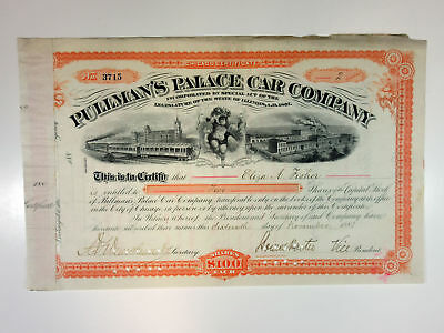 IL. Pullman's Palace Car Co., 1881 2 Shrs Capital I/C Certificate, Fine, ABNC