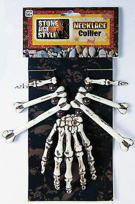 Skeleton Hand and Bones Necklace Voodoo Witch Dr. Caveman Costume Accessory