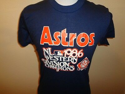 80s L tag S fit VTG 1986 Trench Houston Astros baseball 1-sided t-shirt 50/50