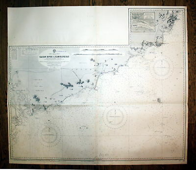 1933 Cochin China Annam Saigon River Kam Ranh Bay Vietnam Ocean map chart