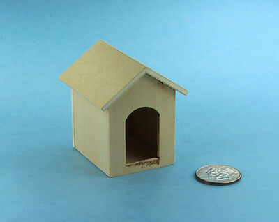 1:12 Scale Dollhouse Miniature Natural Wood Unpainted Dog House #SBEF141