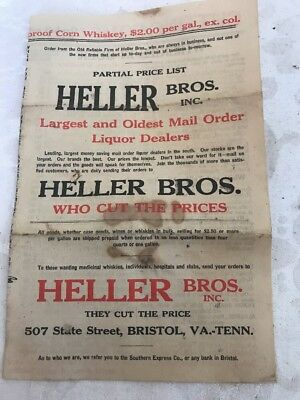Early 1900s Heller Bros. Liqour Whiskey Advertisement Bristol Va. Tn