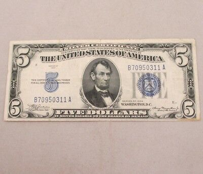 1934 SILVER CERTIFICATE United States 5 Dollar Bill Five Dollar Note ...