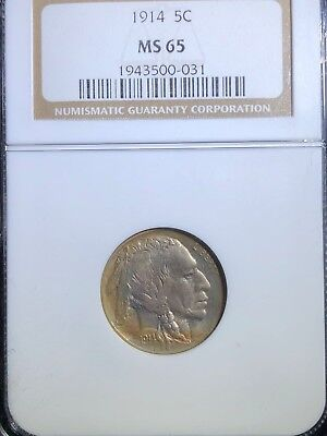 1914 5C Buffalo Nickel ~ NGC Graded MS 65
