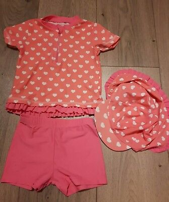 Baby girl swimsuit/set pink spotty/polkadot  - summer holiday 12- 18months