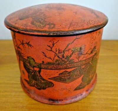 Antique Papier Mache Oriental Trinket Box Chinese / Japanese